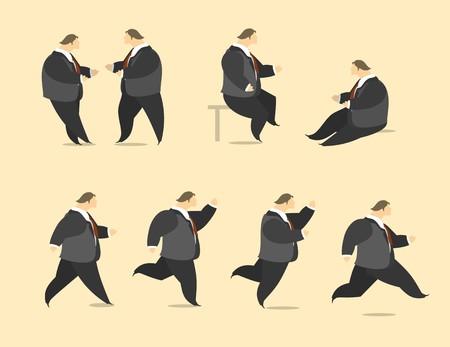 arrowheads: Stylized man businessman flying up near the arrowheads in flat styleup near pointers