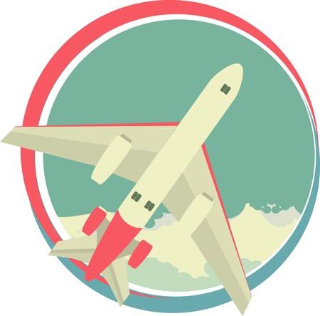 aeronautic: emblem round shape vnutrti sky with clouds and flying plane Illustration