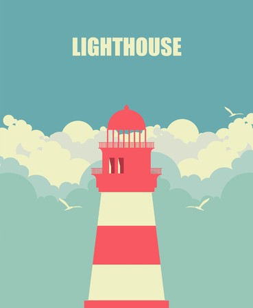 lighthouse with beam: vertical banner building a lighthouse on the background of sky and clouds in the afternoon