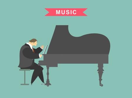 pianista: car�cter estilizado, pianista masculino tocando el piano