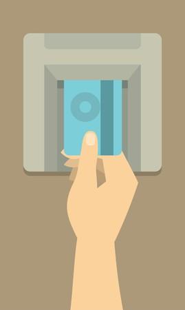 인간의 손에 돈을 얻기 위해 ATM에 신용 카드를 삽입합니다.