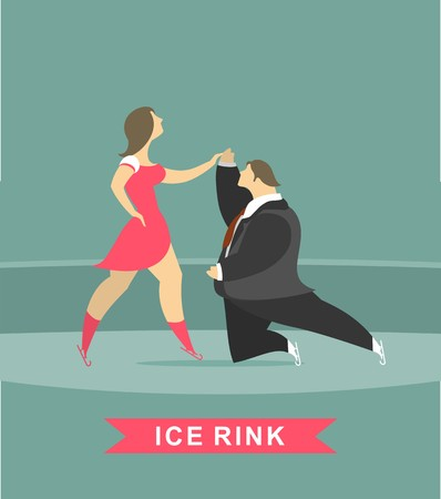 stylized characters dancing on ice rink in a pair of male and female skaters