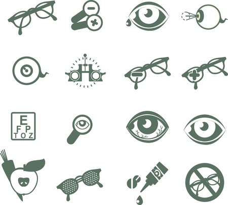ophthalmic tenoserye icons on a white background Vector