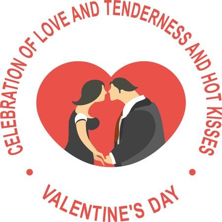 pareja comiendo: Tarjeta de San Valentín para la forma redonda de vacaciones dentro del corazón y besos hombre y la mujer en todo el texto sobre un fondo blanco