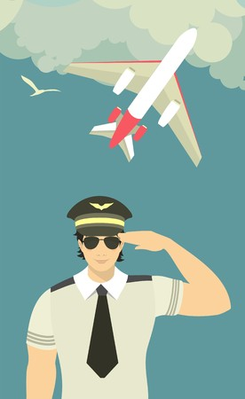 pilot of the plane on theman in the form of a pilot on the sky background with an airplane flying in the clouds sky background