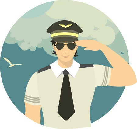 flight crew: pilot of the plane on theman in the form of a pilot on the sky background with an airplane flying in the clouds sky background