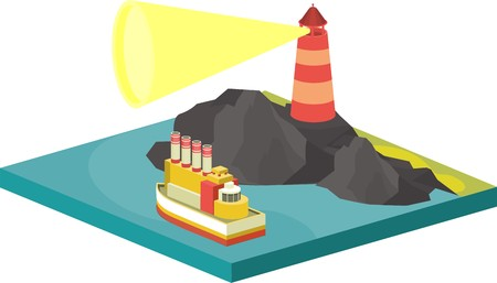 isometric illustration seascape lighthouse lights the way the ship