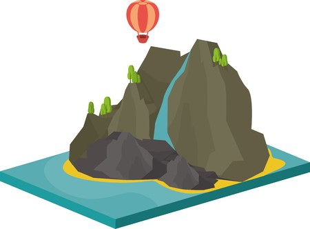 lifeboat: isometric illustration of sea landscape with an island in the sea and cliffs