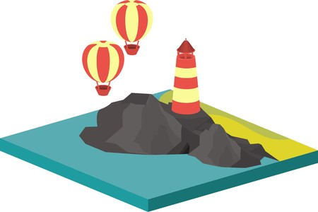 3d bungalow: isometric illustration of sea landscape with an island in the sea and lighthouse on rocks flying balloon