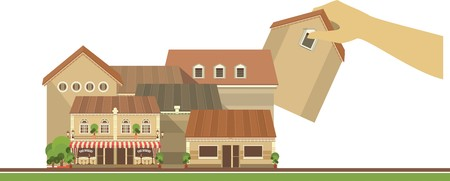 purchasing manager: city street with a lot of houses human hands are home to install it Illustration