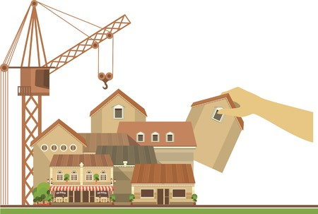 purchasing manager: city street with a lot of houses human hands are home to set it next to the crane