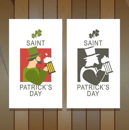 two flyers are located on the background of the boards on flyers congratulations on St. Patricks Day Vector