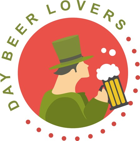 nude emblem to St. Patrick. man dressed as a leprechaun drinking beer Vector