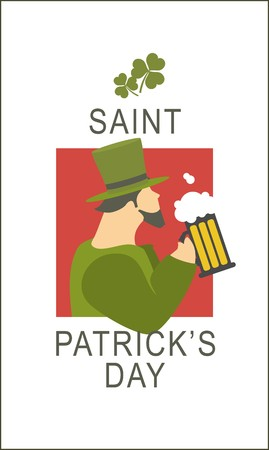flyer St. Patrick with the image of a man in a suit leprechaun pyuschego beer Vector