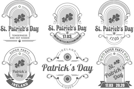 a set of several pieces Calligraphic Design Elements St. Patricks Day Vector