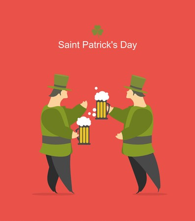 joking: Group of friends celebrating St. Give Patricks illustration to the flat style