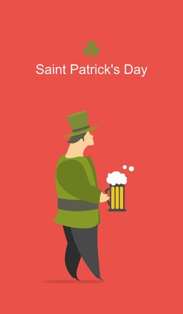 joking: man raises his glass of beer on the feast of St. Patrick