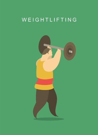 stylized character man playing sports weightlifting lifting a weight Vector