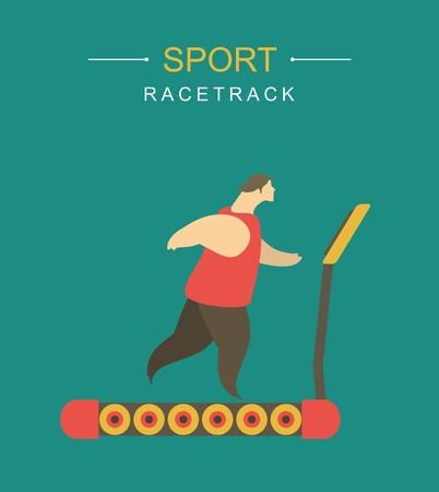 treadmill: stylized character man playing sports athletics running on a treadmill