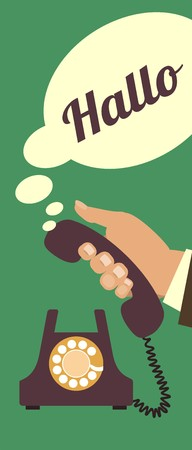 answering phone: human hand picks up the phone to answer the call Illustration