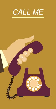 human hand picks up the phone to answer the call Stock Illustratie