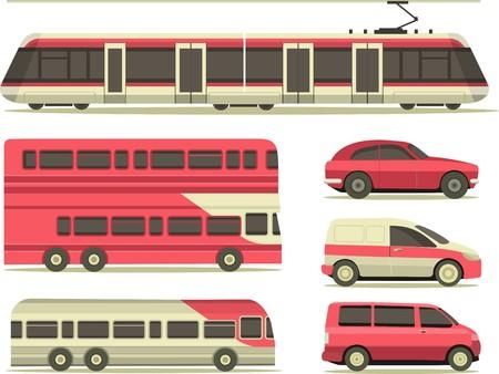 tren: conjunto de veh�culos autom�viles, camiones y trenes en el estilo plano de la ciudad sobre un fondo blanco