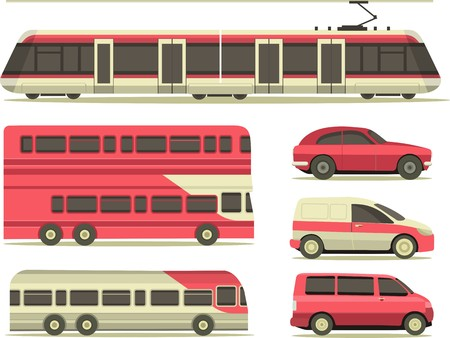 train: set of vehicles cars, trucks, and trains in the city flat style on a white background