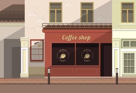 옛 마을의 거리에 작은 커피 숍 일러스트