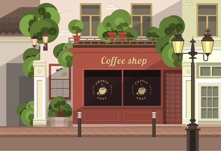 small: a small coffee shop on the streets of the old town Illustration
