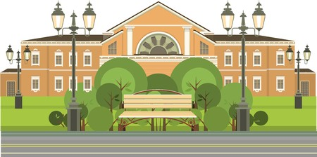 grass plot: country house around the lawn bench for relaxing in the shade of trees Illustration