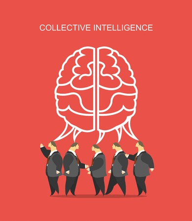 business concept business team crowd over them big brain metaphor for the collective intelligence