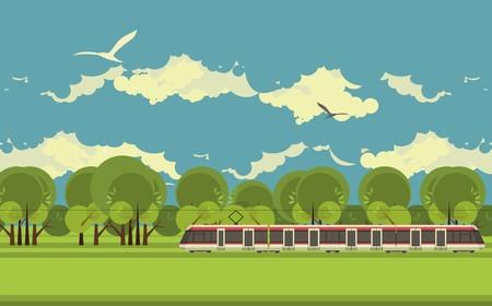 on train: tren en el ferrocarril pasa a trav�s del campo en un estilo plano de infograf�as