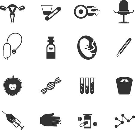 ovario: conjunto de iconos de m�dicos ginecol�gicos ejecutado en estilo plano Vectores