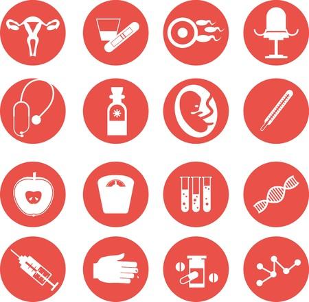 ovary: conjunto de iconos de m�dicos ginecol�gicos ejecutado en estilo plano Vectores