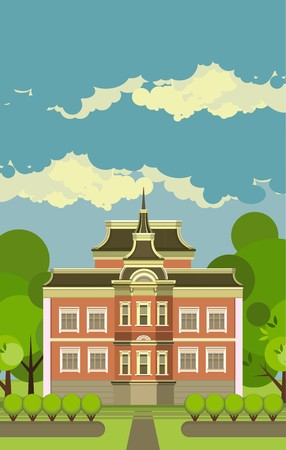 country house style: Country manor two storey house on a background of the sky in a flat style