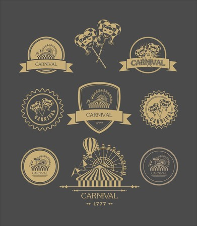 carnival costume: vintage badges of different shapes carnival carnival attributes on a dark background