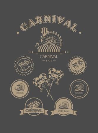 carnaval: badges d'�poque de diff�rents attributs formes carnaval carnaval sur un fond sombre