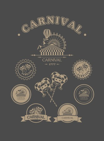 amusement: vintage badges of different shapes carnival carnival attributes on a dark background