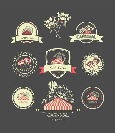 carnival background: vintage badges of different shapes carnival carnival attributes on a dark background