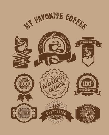 복고 스타일의 커피 테마 빈티지 배지와 태그 세트는 두 가지 색상으로 구성되어