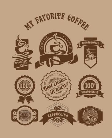 set of vintage badges and tags on the theme of coffee in retro style is made in two colors Vector