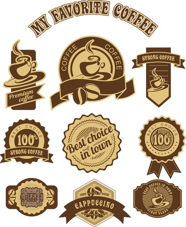 set of vintage badges and tags on the theme of coffee in retro style is made in two colors