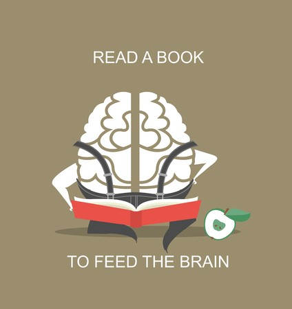 cartoon reading: the concept of the human brain sitting and reading a book, pumps brain