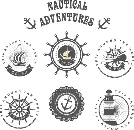 water anchor: Vintage badges seaset of vintage badges on the marine theme in a circular shape with elements of the marine theme
