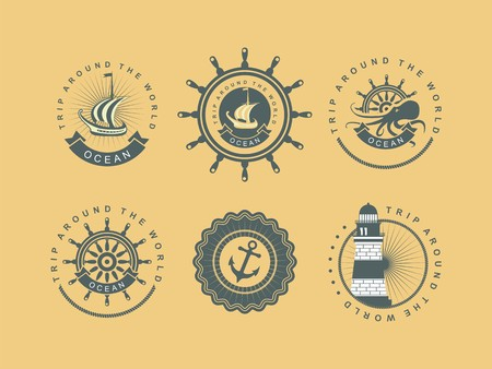 marine ship: Vintage badges seaset of vintage badges on the marine theme in a circular shape with elements of the marine theme