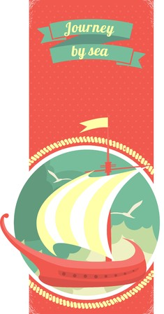elongated: Marine emblem with a ship in a circle on the elongated vertical leaflet