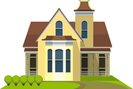 country house style: a small country house in a flat style on a white background Illustration