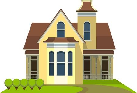 Ein kleines Landhaus in einem flachen Stil auf weißem Hintergrund Standard-Bild - 37077451