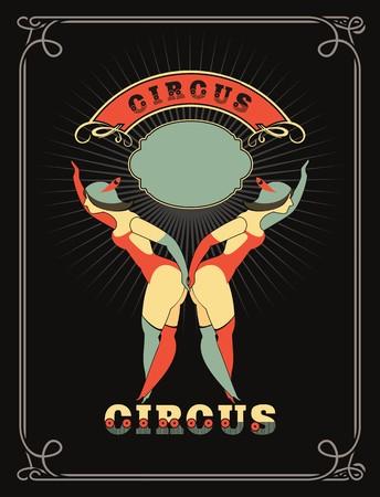 circo: cartel de circo con unos bailarines de circo en trajes de pie por el marco para el texto