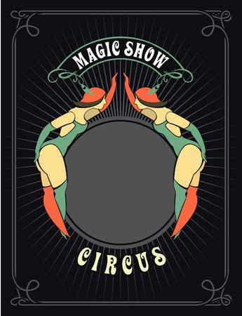 cabaret stage: circus poster with a circus dancers in costumes standing by the frame for your text
